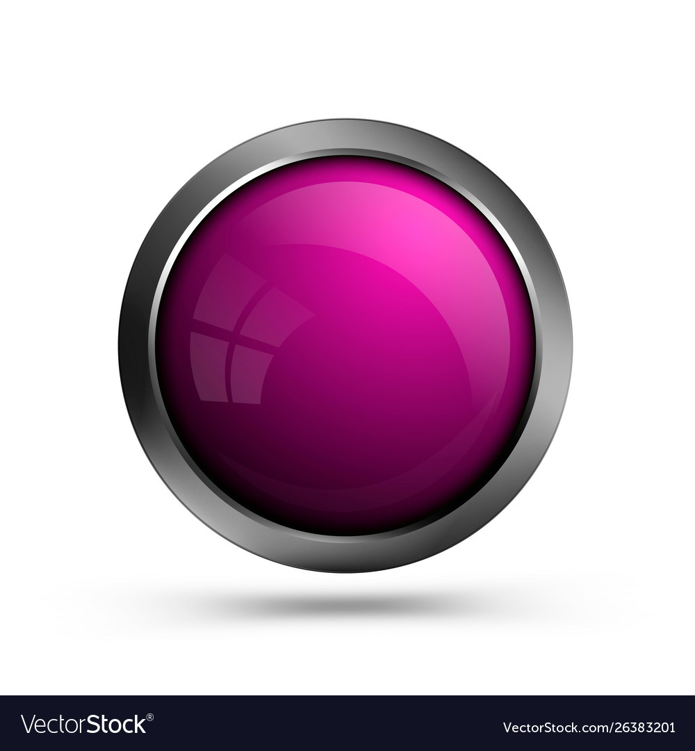 Pink glass button isolated on white background
