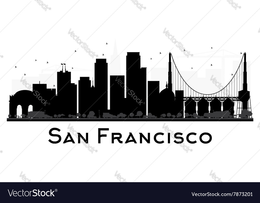 san francisco skyline black and white silhouette vector image rh vectorstock com san francisco skyline silhouette vector free San Francisco Skyline at Night