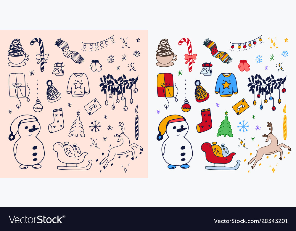 Set hand-drawn outlined christmas doodle icons