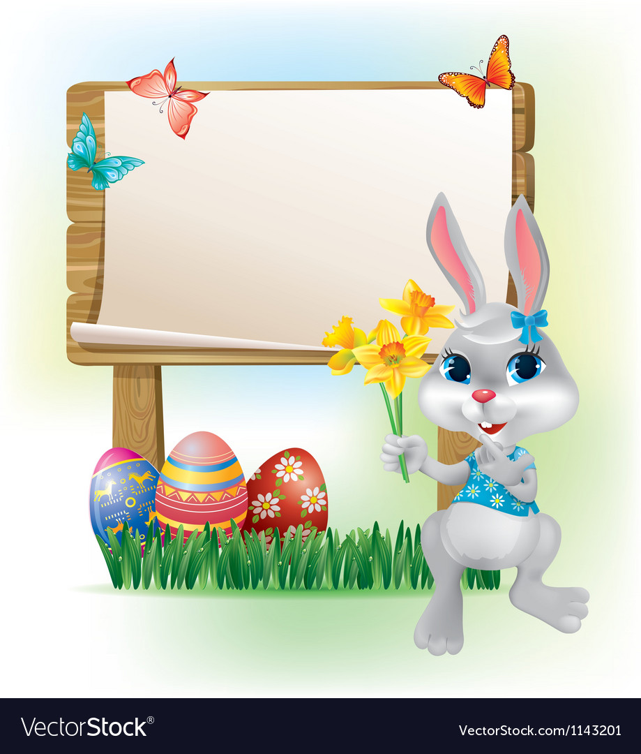 Wooden sign with Easter Bunny vector image