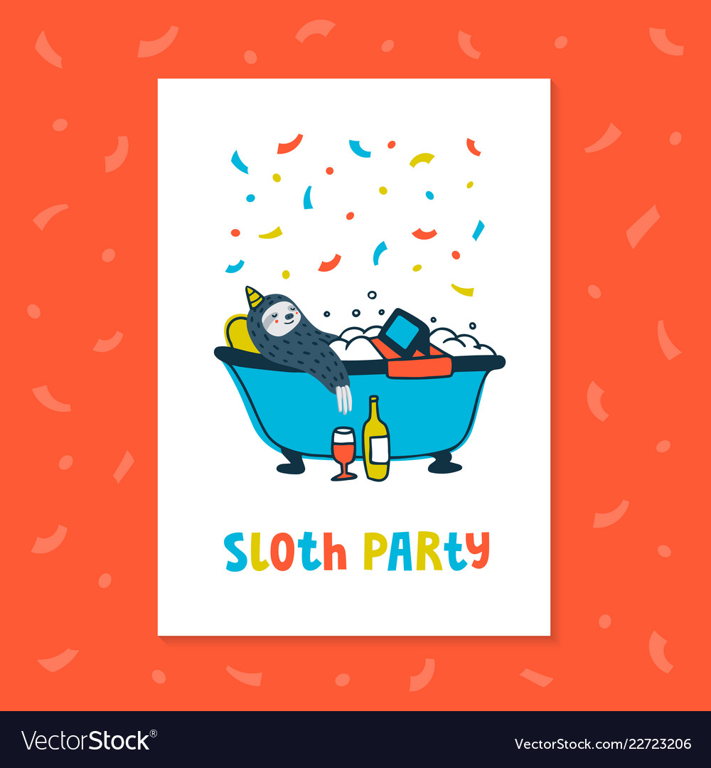 Animal party lazy sloth party cute sloth
