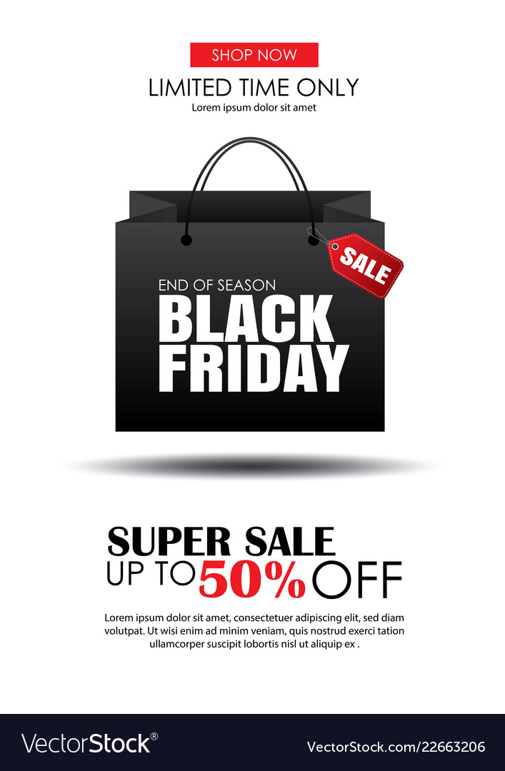 Black friday sale flyer template white background