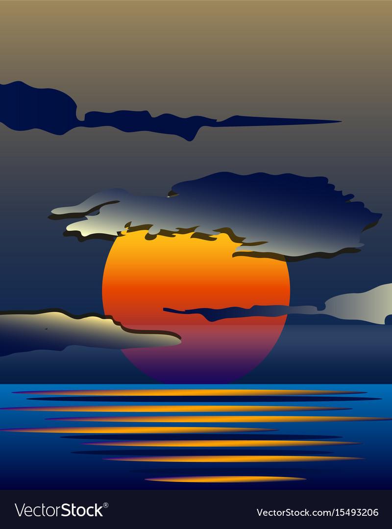 Bright yellow sunrise and sunset set