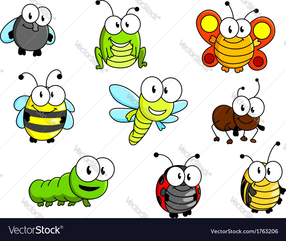 cartoon insects set royalty free vector image vectorstock rh vectorstock com cartoon insects prints cartoon insects youtube