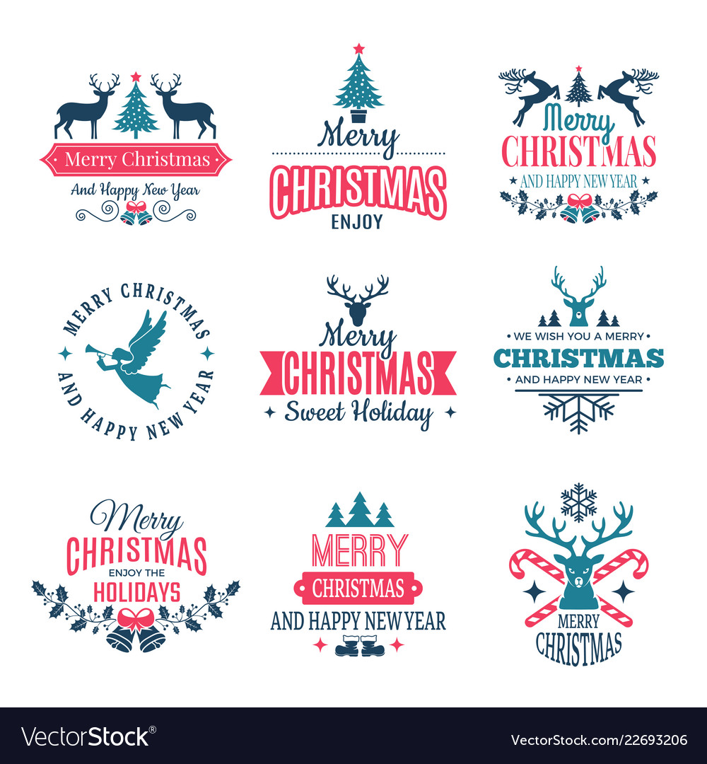 Christmas elements holiday labels borders badges