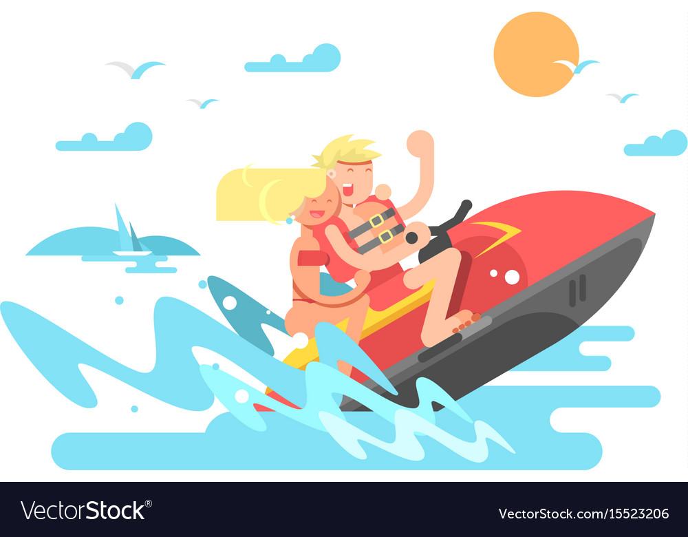 Couple on hydrocycle