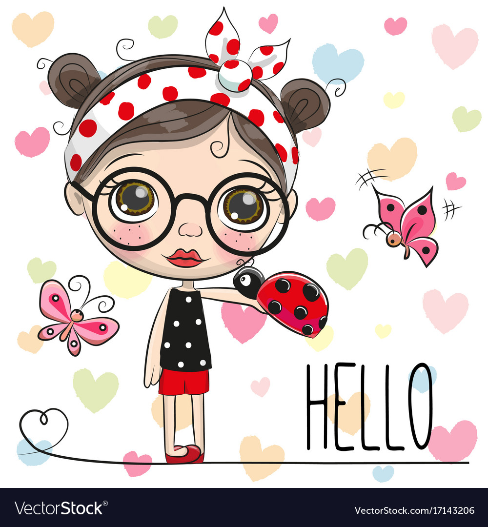 Cute cartoon girl with a ladybug vector image