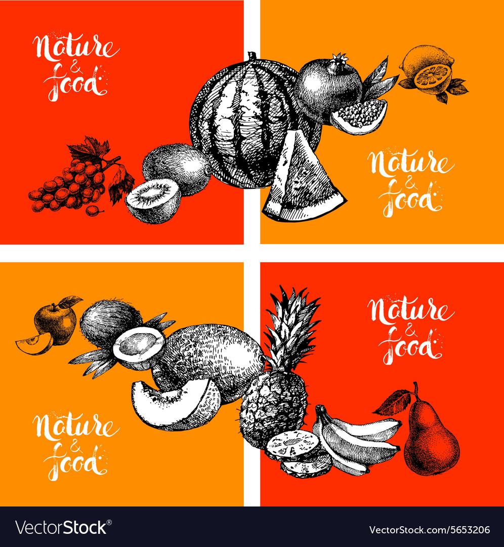 Eco natural food menu vintage background