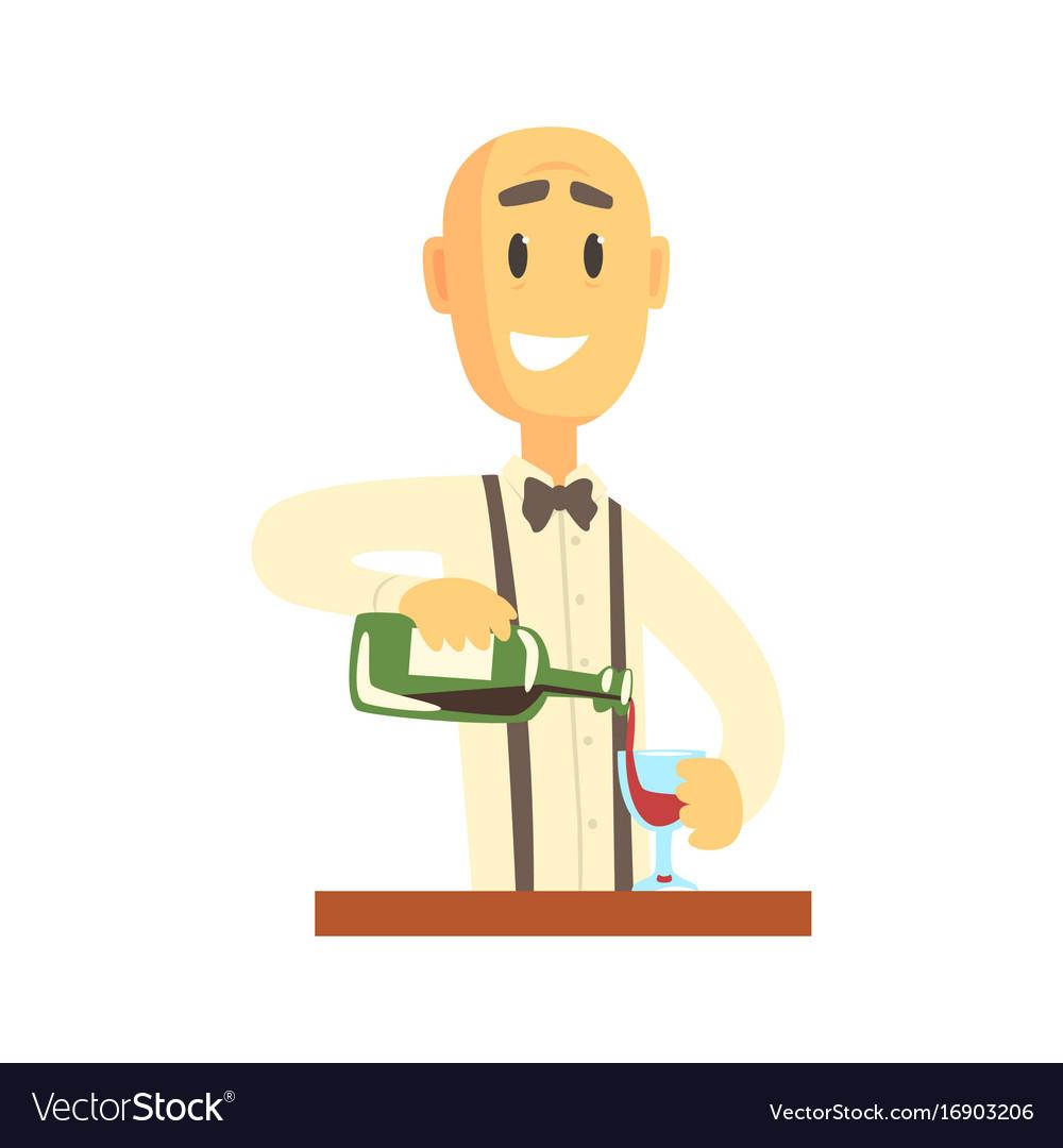 Elegant bartender man character standing at the