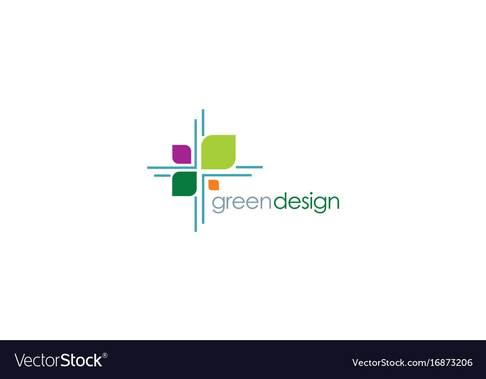 Green leaf design logo