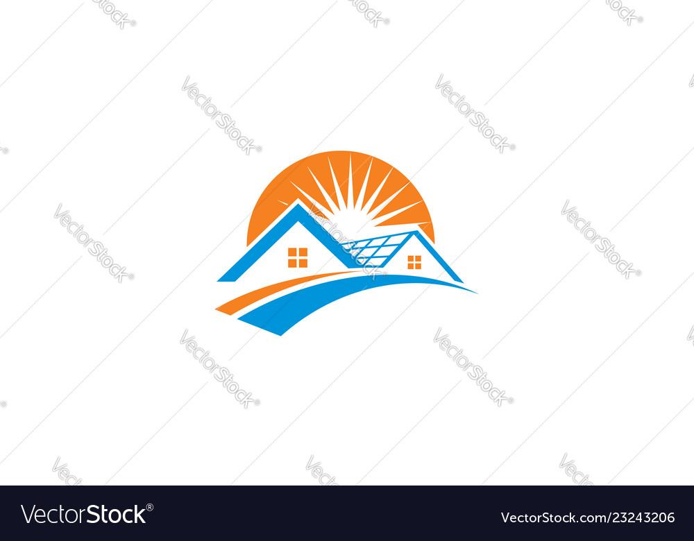 Home solar cell logo icon