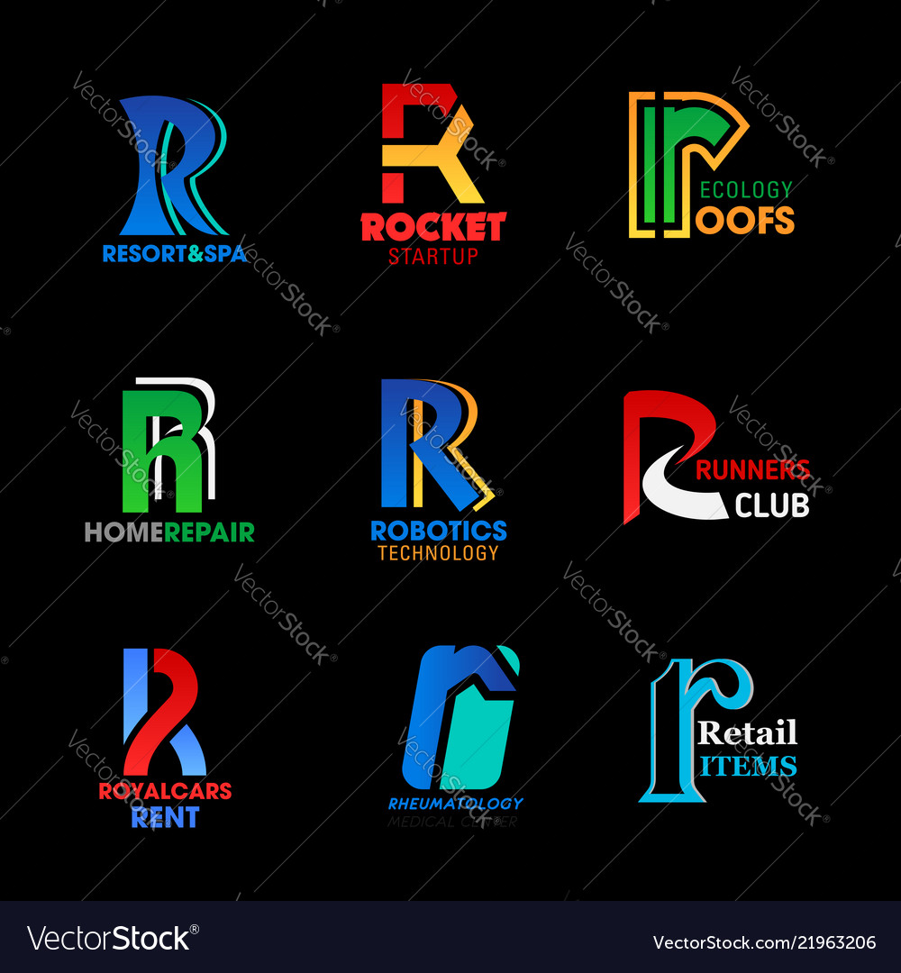 Letter r identity abstract business icons