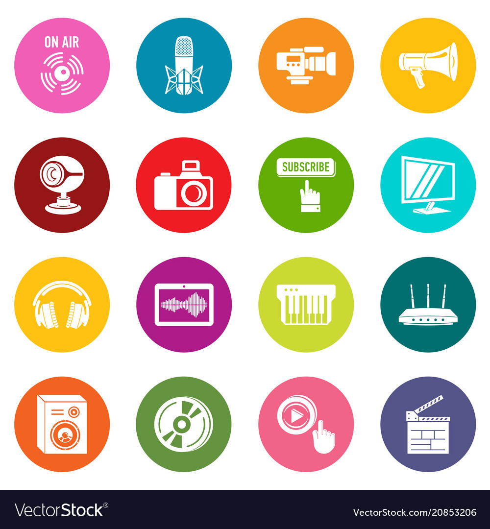 Multimedia internet icons set colorful circles