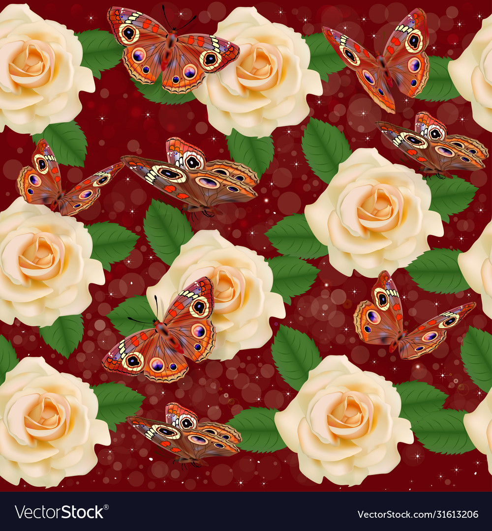 Seamless background with roses and butterflies