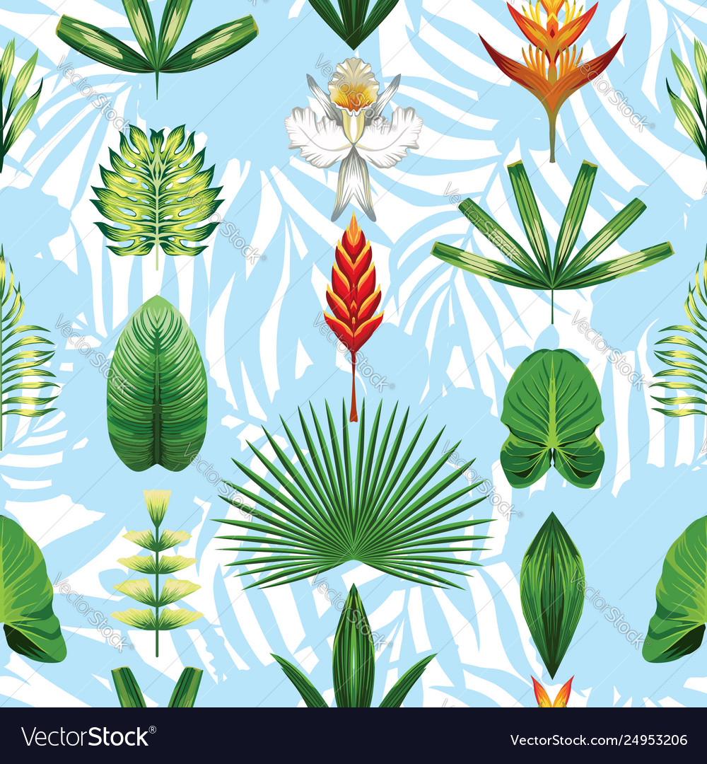 Seamless symmetric tropical flowers and leaves
