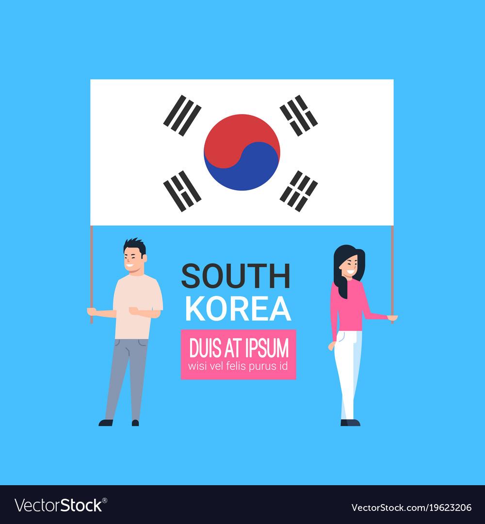 young couple holding korean flag south korea man vector image