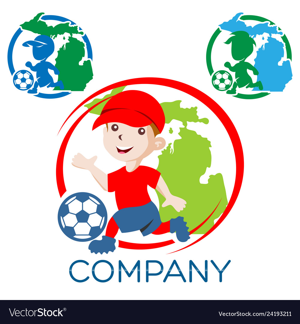 Boy football player logo
