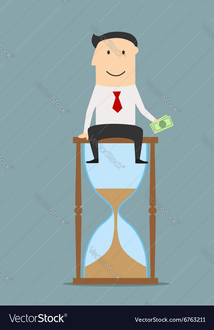 Businessman sitting on a hourglass with money