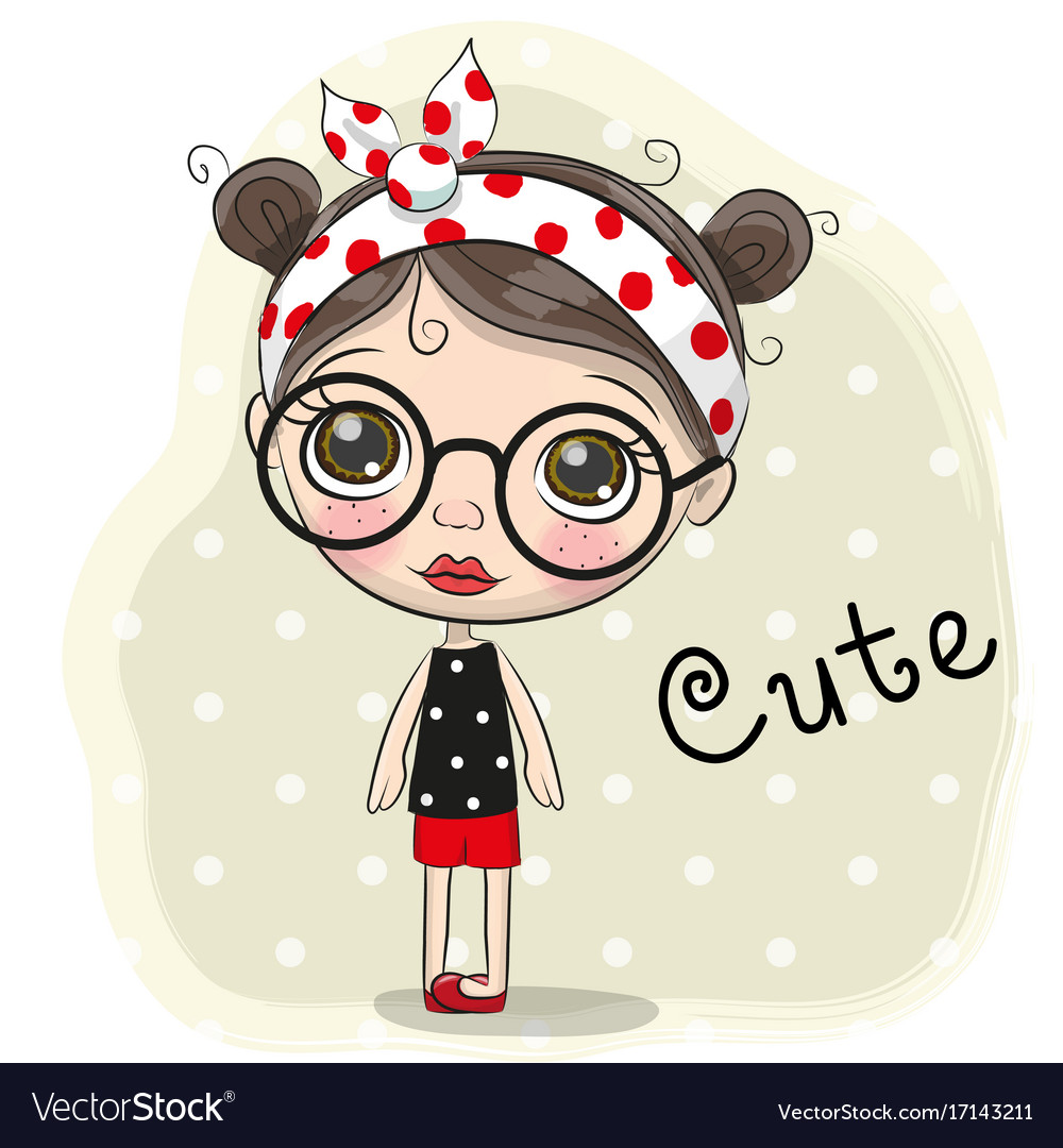 Cartoon Girl With Brown Hair And Glasses