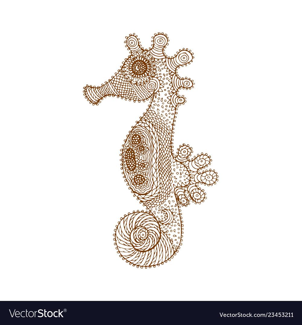 Decorative brown line sea horse in zentangle style