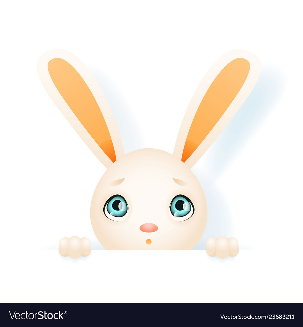 Easter cute bunny rabbit hole paws isolated design