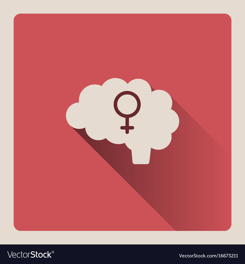 Female brain on red background with shade