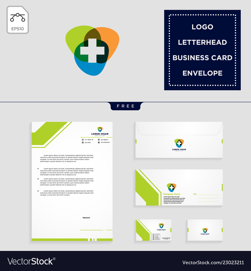 Medical cross logo template and free letterhead