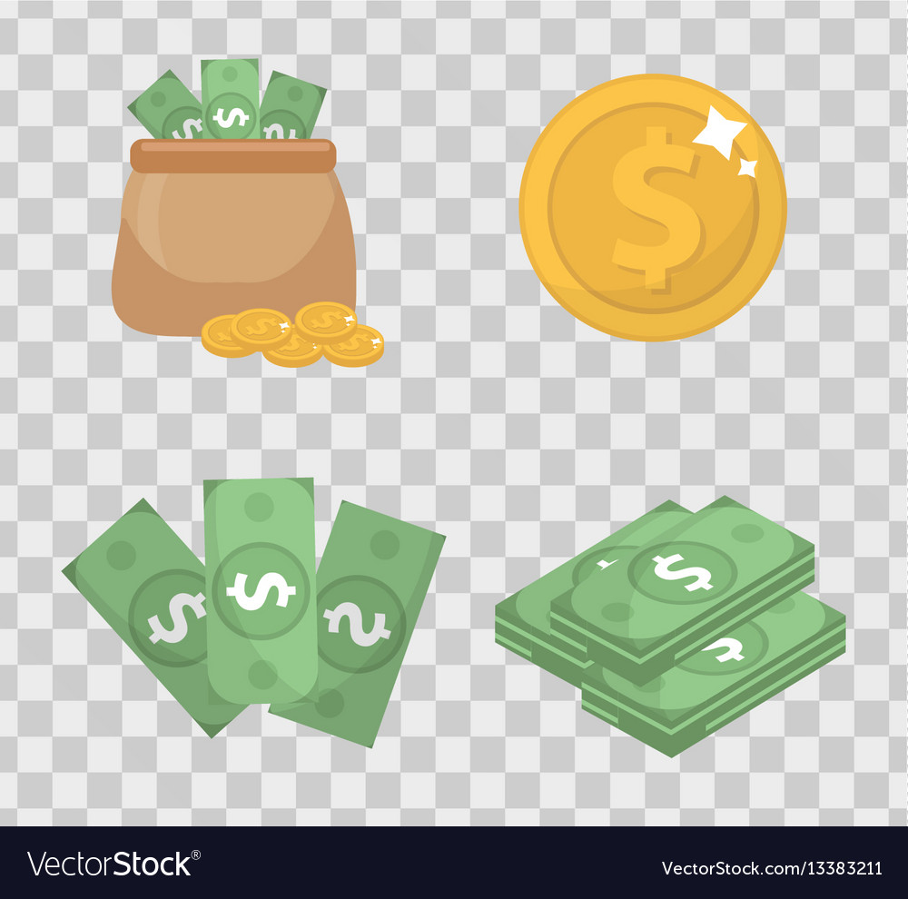 Money and coin set icons flat style isolated on