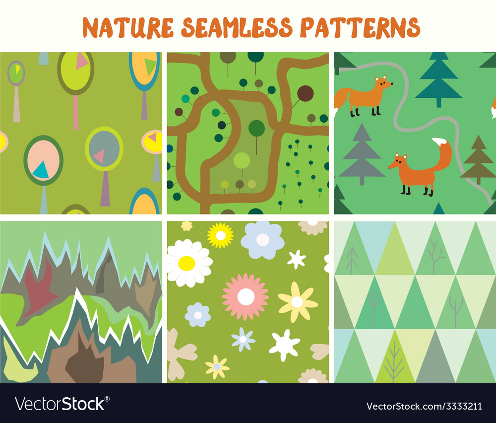 Nature seamless patterns set with tree flowers