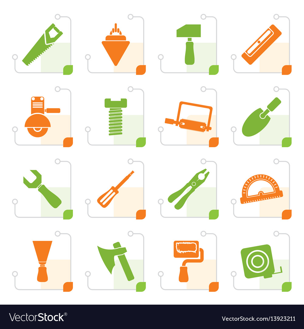 Stylized building and construction tools icons