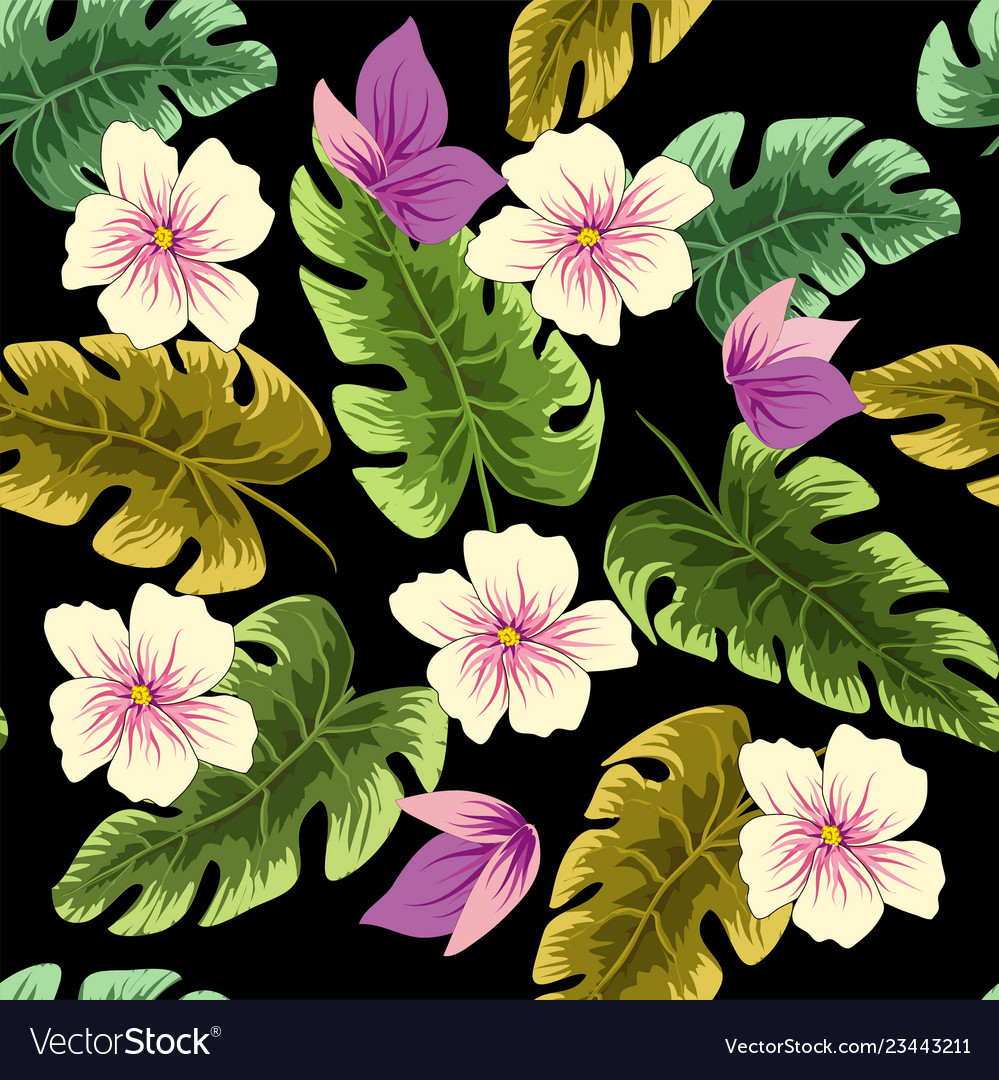 Tropical leaves and flowers in the night style