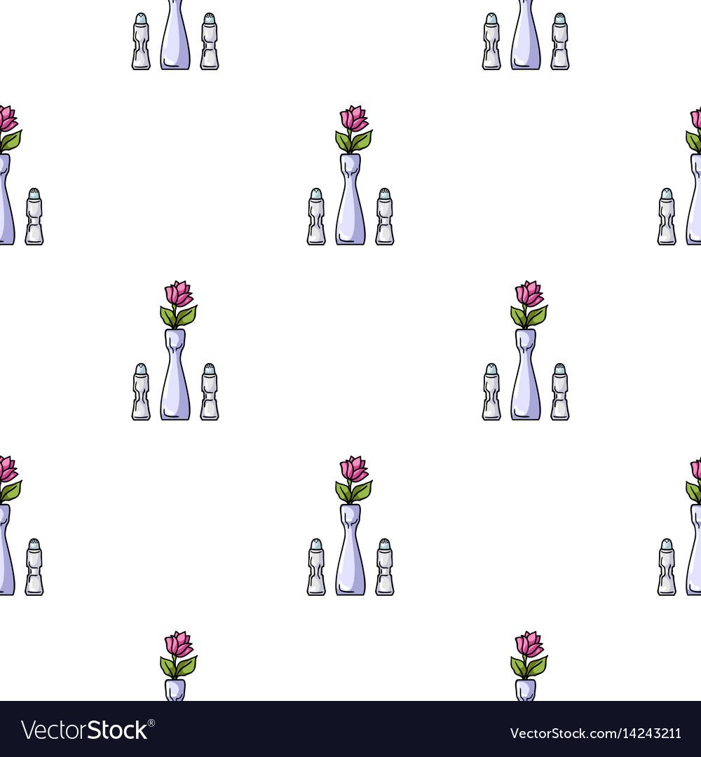 Vase with flower icon in cartoon style isolated on