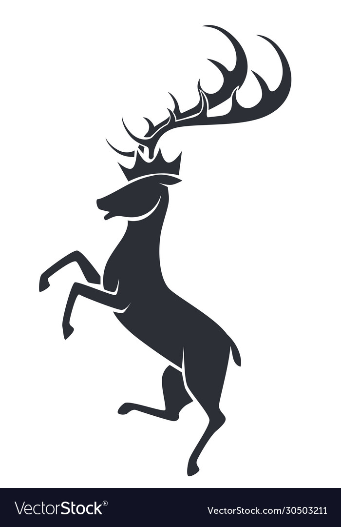 Wild stag or deer in motion silhouette icon