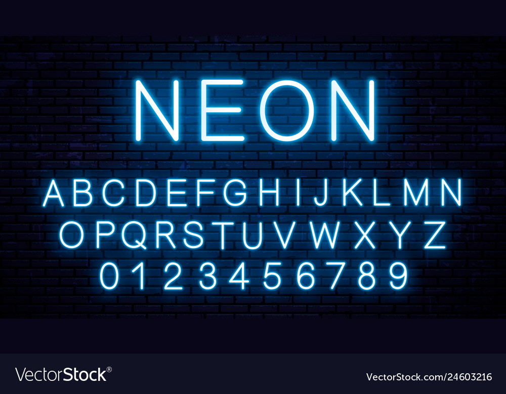 Blue neon english letters