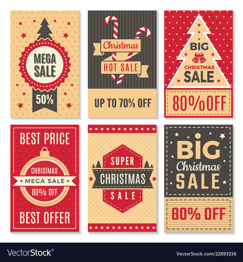 Christmas sale banners new year special offers