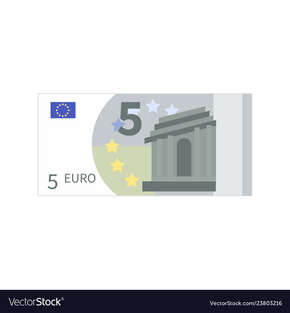 Flat simple five euro banknote isolated on white