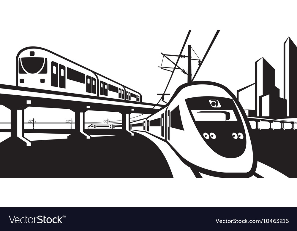 Overground rail transportation vector image
