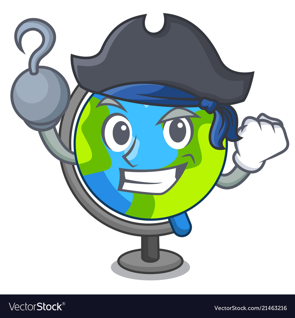Pirate globe character cartoon style