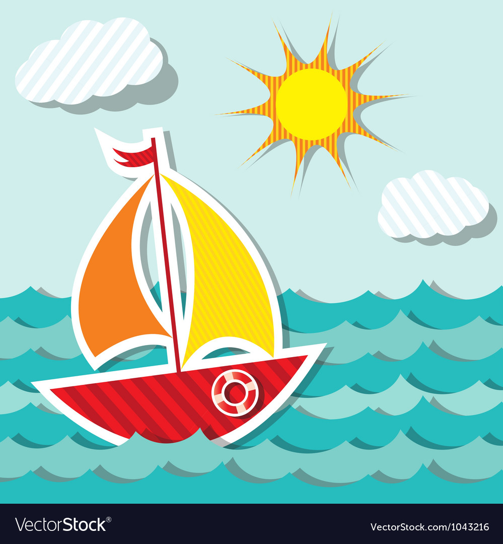 Sailing boat sticker vector image