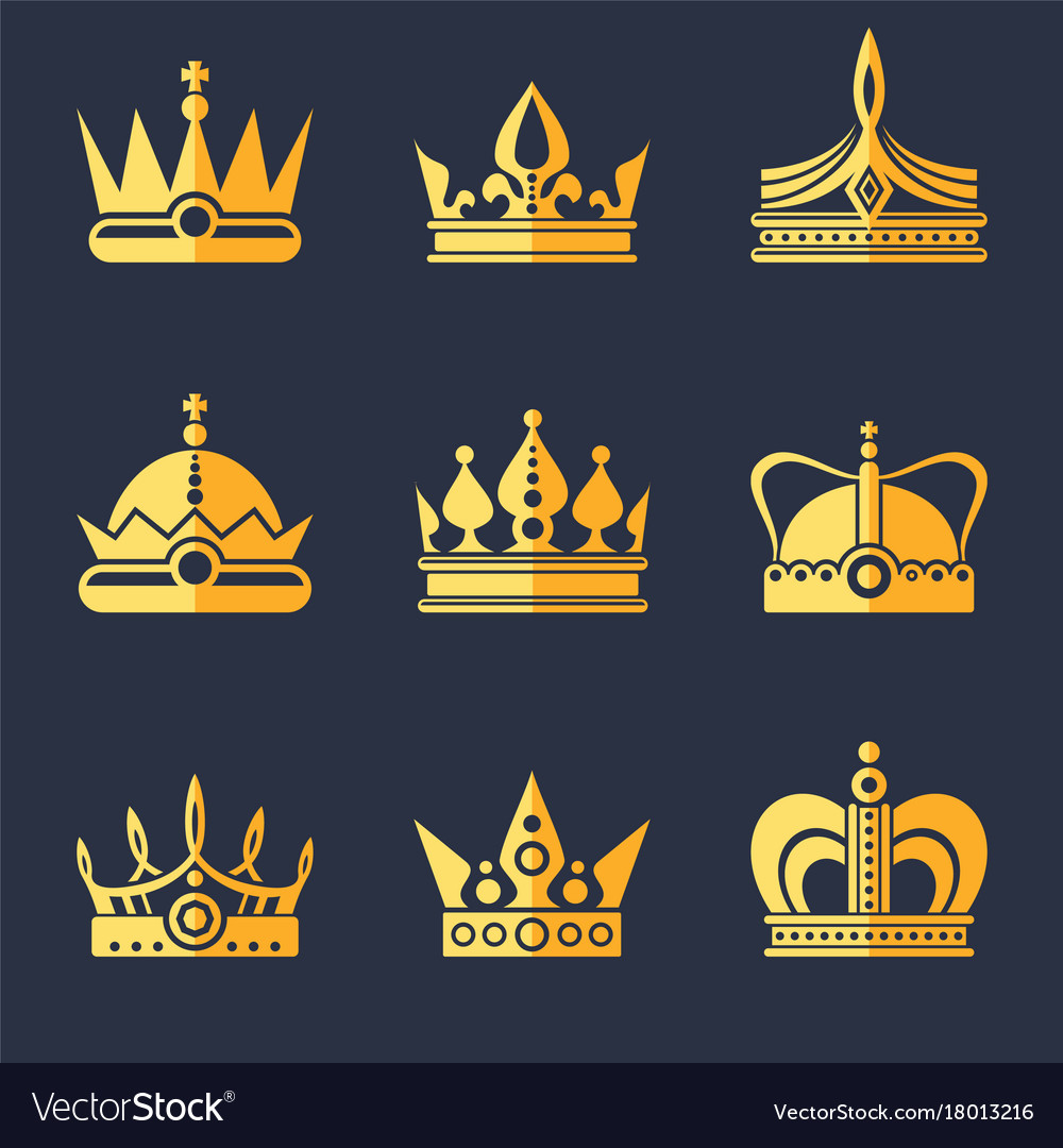 Set of rich golden crowns flat