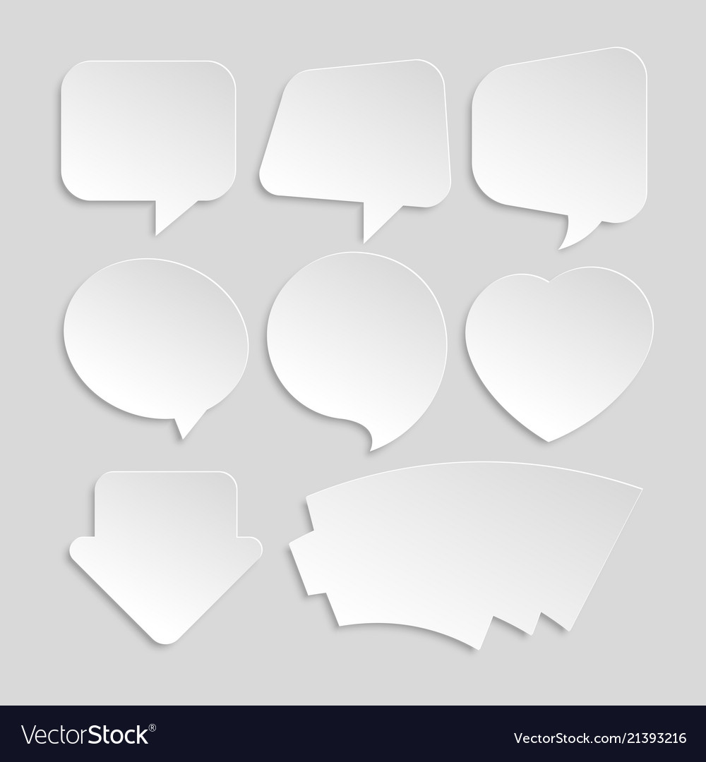 Set of white paper stickers of different shapes