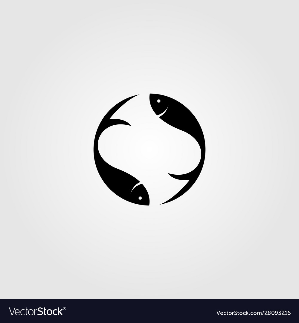 Simple fish yin yang logo design