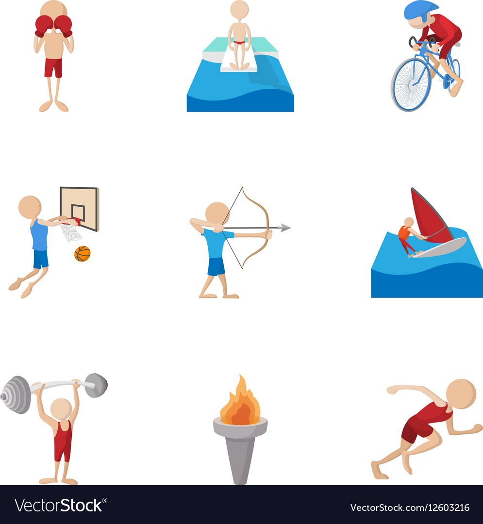 Types of professional sports icons set