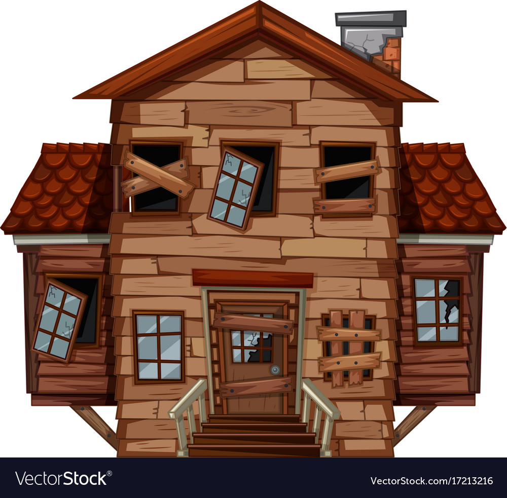 Pleasing Wooden House In Poor Condition Vector Image Interior Design Ideas Apansoteloinfo