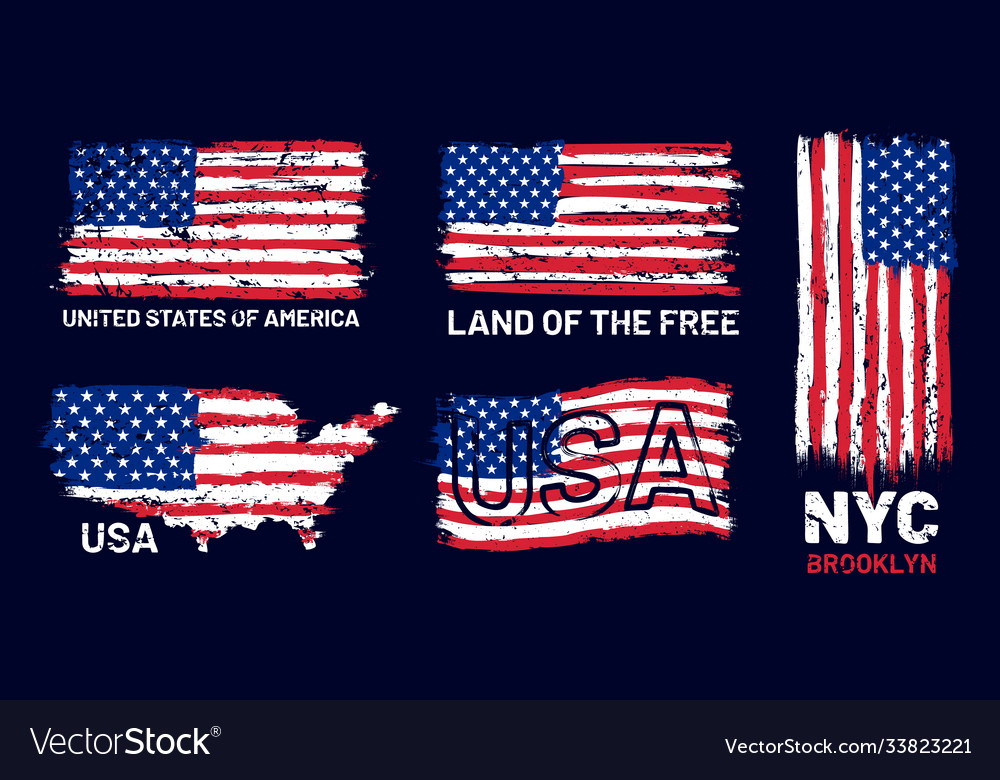 American flag grunge patriotic style print with