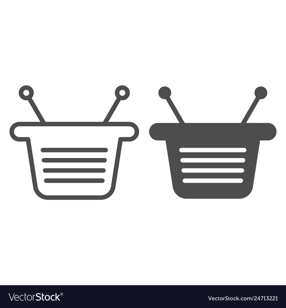 Basket line and glyph icon market