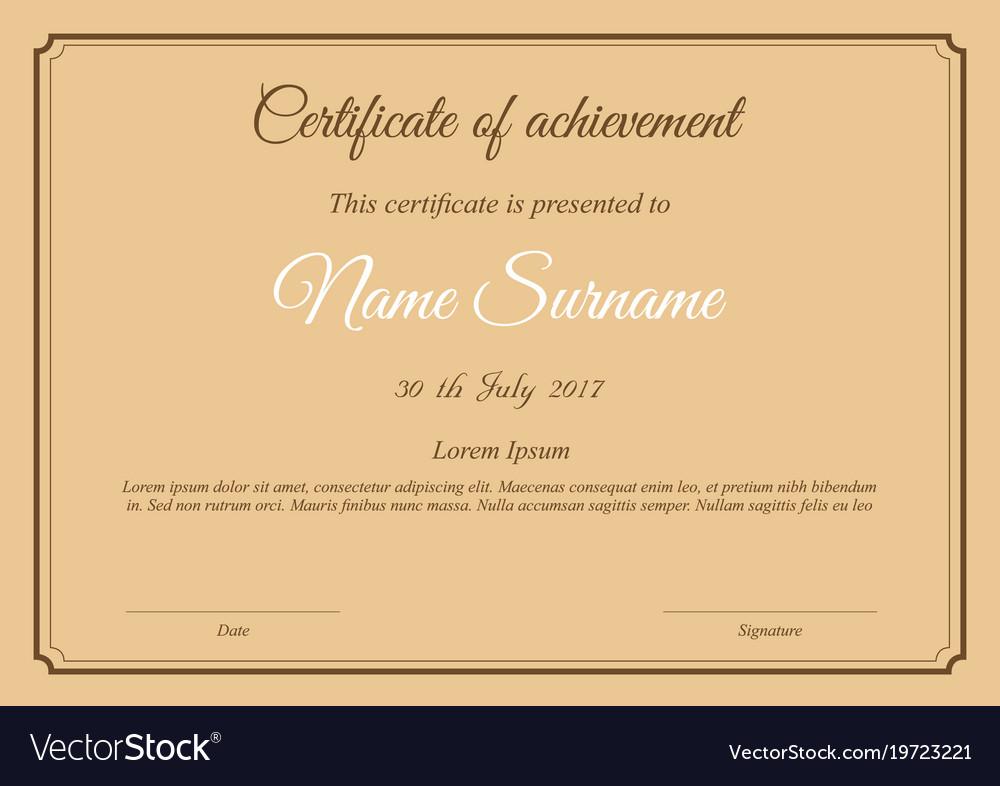 Certificate Template In Brown Paper Colors Vector Image