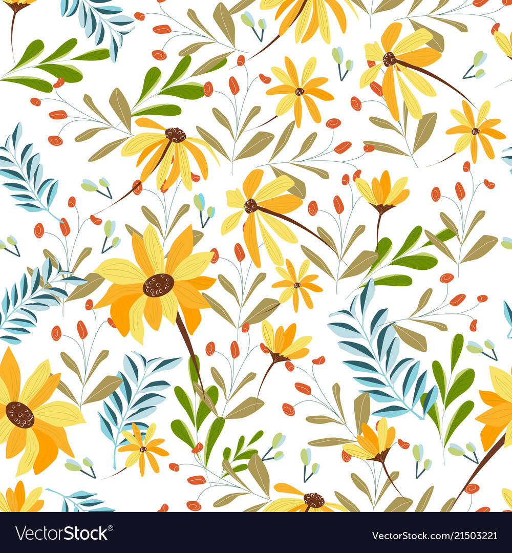 Cute Sweet Yellow And Blue Tropical Flower Vector Image