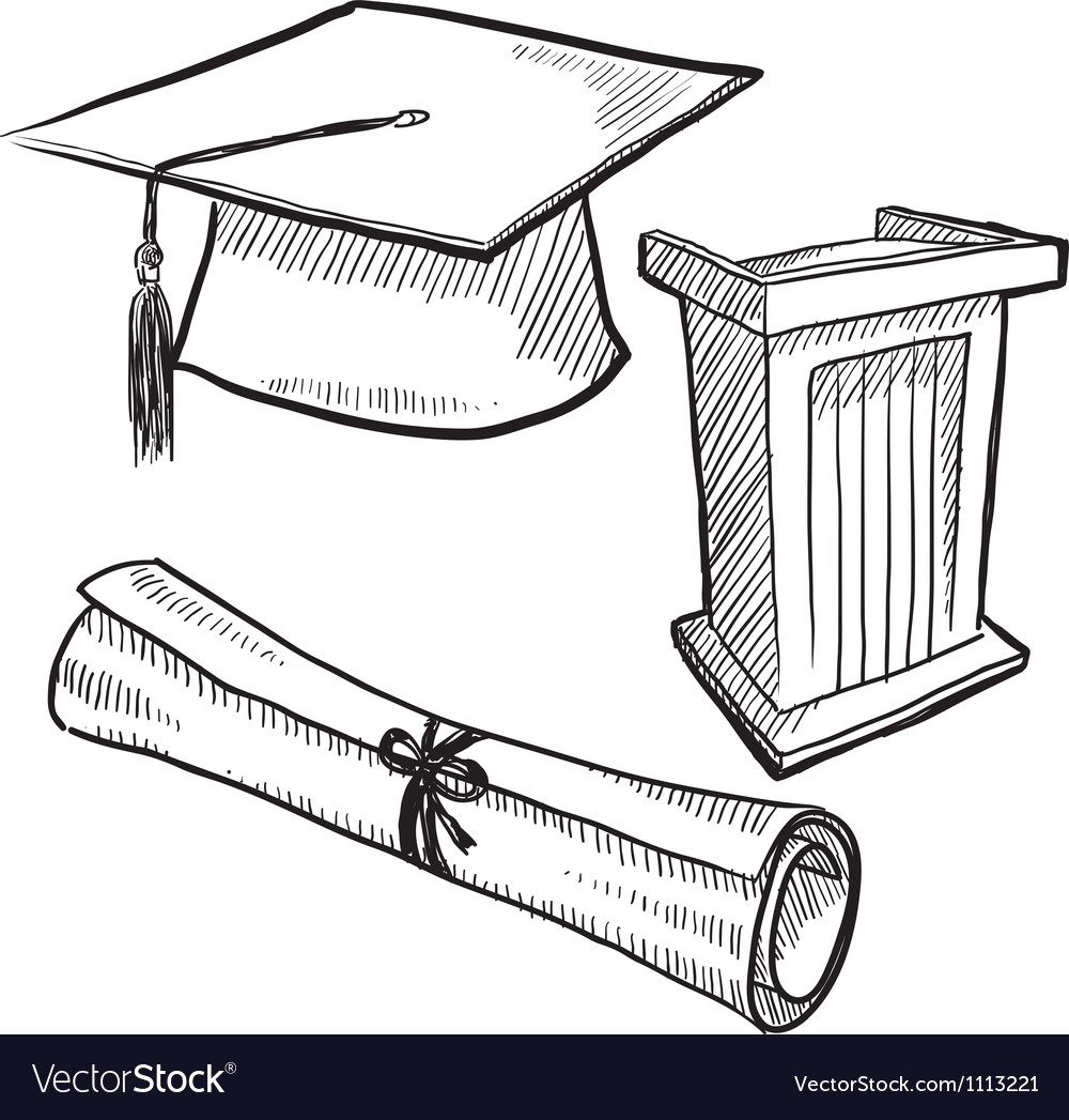 Doodle graduation cap diploma scroll