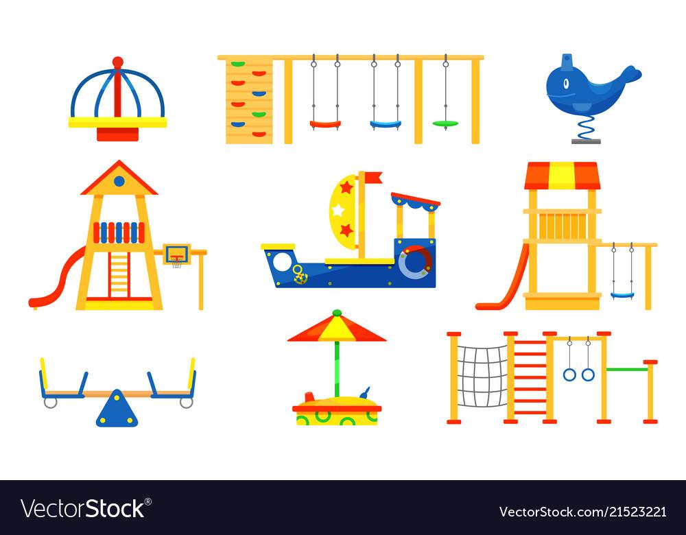 Flat set of kids playground elements